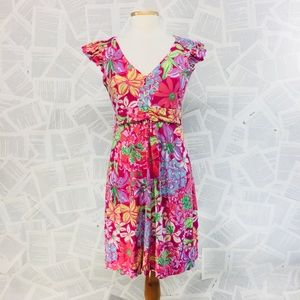 Lilly Pulitzer Pink Floral Empire Midi Dress M